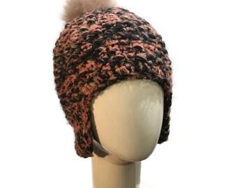 Pink Alpaca Wool Hat with Alpaca Fur Pompom, Pink Knit Hat, Beanie Hat with Pompom/Warm Winter Hat/Mixed Pink Beanie with Beige Fur Pompom