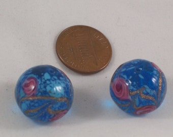 Destash!  Two Large Vintage Venetian Glass 16mm Round Beads by ceeceedesigns on etsy