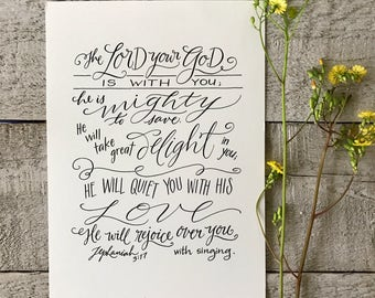 Zephaniah 3:17 - Hand-Lettered Scripture Print - Bella Scriptura Collection from Paperglaze Calligraphy