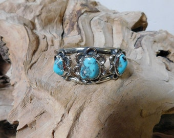Turquoise in Sterling Silver Bracelet Cuff Vintage RF032