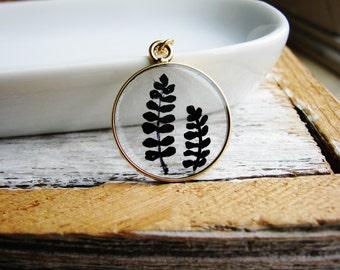Illustrated Art Fern Necklace, Art Pendant Neckace, Flower Necklace, Doodle Necklace, Resin Necklace, Botanical Jewelry
