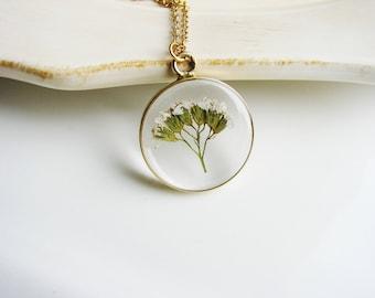 White Yarrow Necklace, Real Wedding Flower Necklace, Pressed Flower Necklace, Nature Lovers Jewelry, Botanical Jewelry