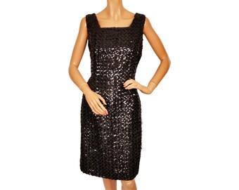 Vintage 1960s Black Sequin Dress - Party Dress - M