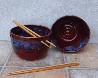 Pair of noodle or rice bowl wheel thrown stoneware pottery ceramic handmade handthrown