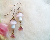 Mushroom Earrings Fairy Pink Magic Mushroom Enchanting Woodland Toadstool Beaded Earrings Handmade Beaded Earrings Tiny Glass Bead Charm