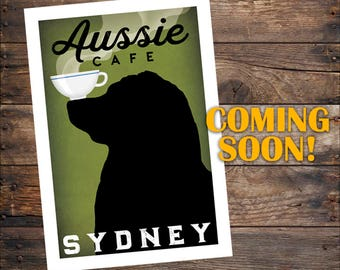 FREE PERSONALIZATION Australian Shepherd Aussie Brewing Company graphic art giclee print SIGNED