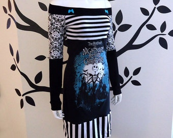 The Nightmare Before Christmas • Off Shoulder Tunic / Dress • Small / Medium • Jack Skellington