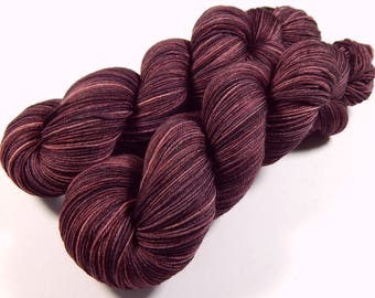 Hand Dyed Yarn - Sock Weight 4 Ply Superwash Merino Wool Yarn - Damson Plum - Semi Solid Knitting Yarn, Tonal Sock Yarn, DIY Gift