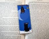 Black Cat and Fruit Bat Bookmark - Original, Laminated Illustration