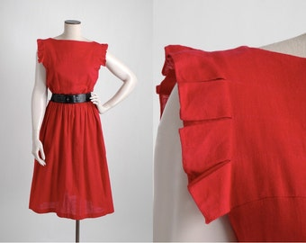 vvvRESERVEDvvv Pierre Cardin vintage red linen dress * 1980s vintage dress * 5S936