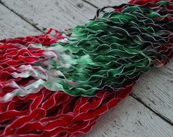 NeW Hand Dyed Ribbon MISTLETOE -  frosted edge ribbon, 5 yards