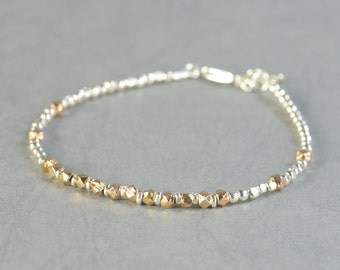 Sterling silver rose gold beads bracelet Silver  Bracelet, Friendship Bracelet, Sterling Silver Friendship Rose Bracelet