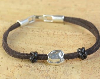 Mens bracelet.Suede and leather cord.Zamak bead.Silver plated.Leather bracelet.Mens suede bracelet
