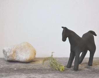 "modern rustic home accent: ""black horse,"" original clay figurine"