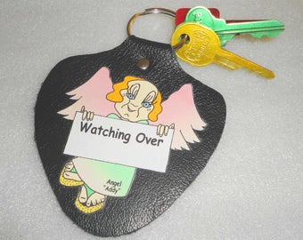 Personalized Key Fob Leather Add A Name Of Your Choice Original Art Work
