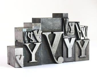 Letter Y Set - Vintage Metal Letterpress