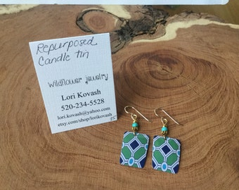 Earrings made from repurposed candle tin