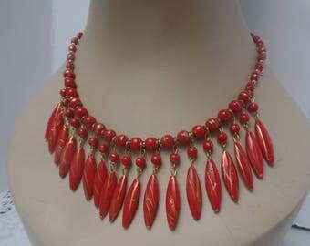 Vintage Red Bib Indian Necklace