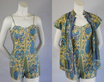 1950 Vintage Rare Nani of Hawaii Two Piece Play Wear Romper Set Perfect Tiki Oasis