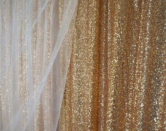 SALE 10 Ft X 20 Sequin Gold Backdrop Photo Prop Curtain
