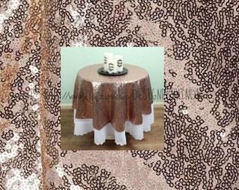 "108"" Round Sequin Blush Rose Gold Tablecloth ready to ship Wedding Birthday Boy"
