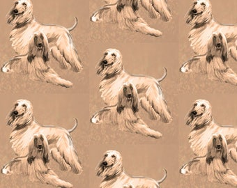 Afghan Hounds in Sepia fabric
