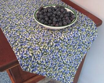 Blueberry Table Runner 54 Reversible Blue Table Runner Blueberries Table Runner Summer Table Runner Table