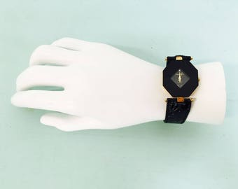 Vintage 1970s-80s Black and Gold Pierre Nicol Quartz Watch