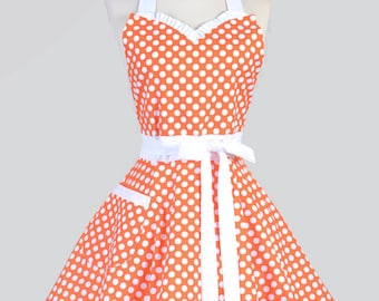 Sweetheart Pinup Womans Apron - Tangerine Orange and White Polka Dot Vintage Inspired Flirty Retro Kitchen Apron with Pocket