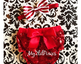 Red Sequins Baby Bloomer and headband , red satin Bow, red diaper cover, full sequins bloomer, Christmas bloomer, Christmas Diaper cover