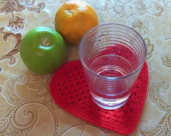 D-79. Heart Crochet Doily, Christmas, New Year, Coaster, Valentine's Day, Drink Coasters, Crochet Coaster
