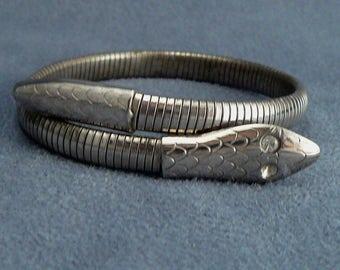 Egyptian Revival Snake Bracelet Silverplate Coiled Snake Wrap Bracelet