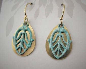 Layered brass filligree with turquoise patina, Gold Filled earwires, teardrop shape, turquoise and gold