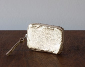 Zipper phone case gold coated leather, coin purse zipper phone case money bag credit card purse- The Myrto Zipper pouch