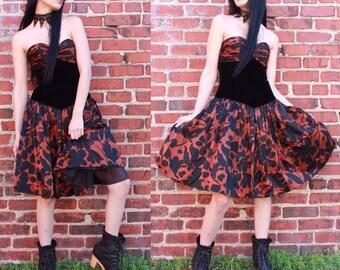Vintage 90's Velvet Bodice Printed Party Dress