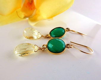 Lemon Quartz Green Onyx Dangle Earrings~AdoniaJewelry