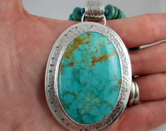 Large Turquoise Sterling Pendant Necklace