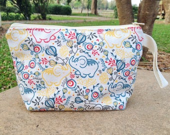 Elephant with Balloon in Circus Cream Canvas Zipper Pouch with Strap | Make up bag | Cosmetic bag | Party bag | Gift bag | Reusable bag |