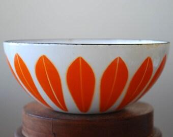 "Catherine Holm of Norway - Orange on White - Lotus Bowl - 5 1/2"" - 1960's - Midcentury Modern"