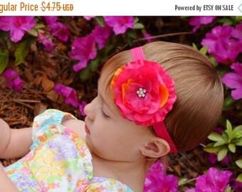 30% OFF SPRING SALE Shocking Pink Flower Headband, Jasmine, Baby Headbands, Infant Headbands, Newborn Headband, Photo Prop, Flower Girl, Sch