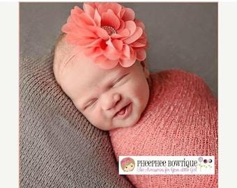 30% OFF SPRING SALE Coral Flower Headband, Lg Petal, Newborn Headband, Baby Headband, Infant Headband, Baby Shower Gift, Flower Girl, Hair B