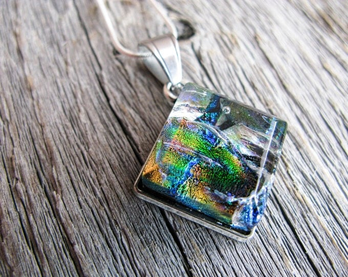 multicolour necklace, space pendant galaxy, gift for her, coworker gift, pendant necklace, gifts under 50, dichroic glass, fused glass