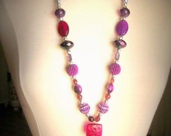 shades of purple long tassel necklace - handmade tassel with accents of silver and beaded beads