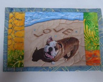 Mug Mat - Bull Dog on the Beach - Mug Rug - Dogs