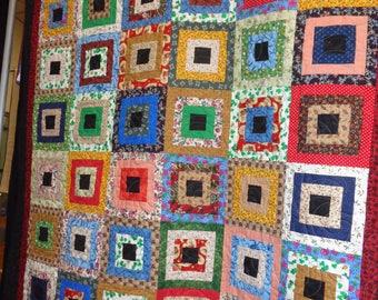 Quilt - Little Irish Cabins - Vintage fabrics - Spring colors