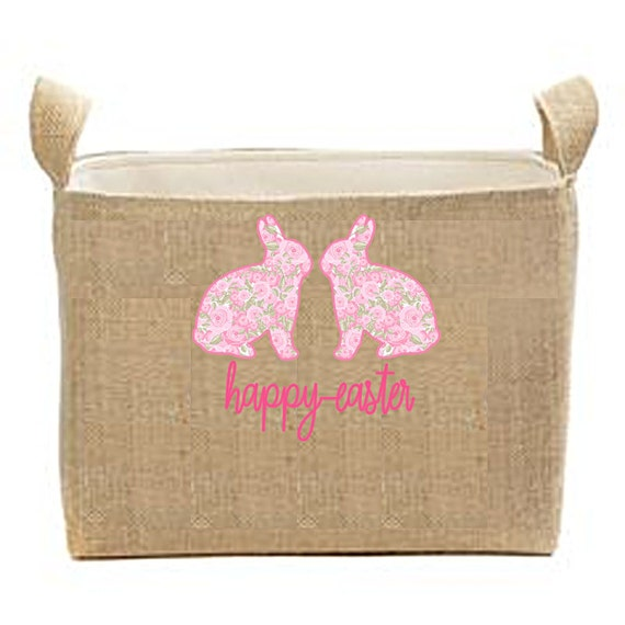 Easter Decor, Easter Basket Centerpiece, Burlap Bin, Storage Bin, Easter Decorations, Easter Party Favor Container, Bunny Basket