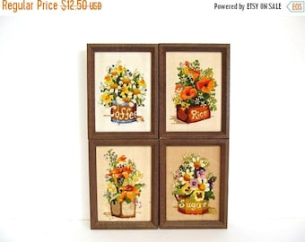 On Sale Embroidery Flowers in Canisters Framed Picture, Country Kitchen Wildflowers, Vintage Needle Yarn Stitchery