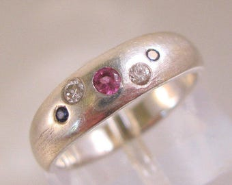 Ruby Diamond Sapphire Sterling Silver Ring Size 3.25 Custom Made Vintage Jewelry Jewellery