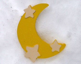 YELLOW MOON and STARS, Wooden Crescent Moon, Nursery Decor, Mobile, Wall Hanging, Sign, Hand Painted, Crescent Moon Sign, Shabby Chic decor