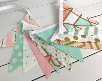 Bunting Banner Flags,Nursery Decor, Gold Nursery, Home Decor, Blush Pink, Mint Green, Gold, Photography Prop, Garland, Pennant Flags, Dots